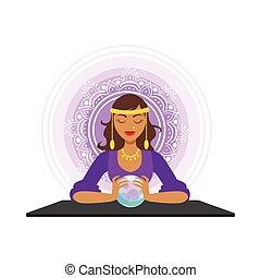 矢量, 球, 預測, 神秘, 講的人, 命運, 插圖, 儀式