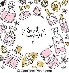 矢量, 瓶子, illustration., 背景, 框架, 香水, ingredients., 心不在焉地亂寫亂畫