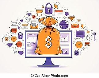 矢量, 監控, 圖象, 集合, 錢, 在上方, 在網上, 概念, 錢, 銀行業務, 電腦, 袋子, 網際網路, bookkeeping, 儲金, 電子, 或者, design.