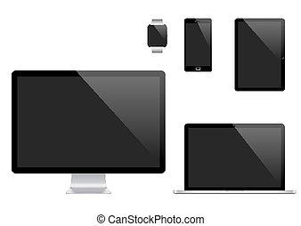 矢量, 監控, 集合, 片劑, 流動, 現代, 觀看, 膝上型, 電話, 電腦, 個人電腦, 數字, devices., 聰明