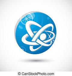 矢量, 符號, 摘要, 圖象, 3d, 原子, 符號