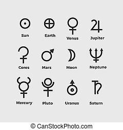 矢量, 符號, 行星