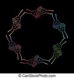 矢量, 組, 一起。, 插圖, 手