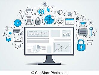 矢量, 統計數字, 電腦監視器, infographics, 互聯网絡圖標, 事務, 集合, 在網上, 金融, 電子, design.