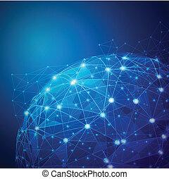 矢量, 网絡, 數字, 濾網, 全球, 插圖