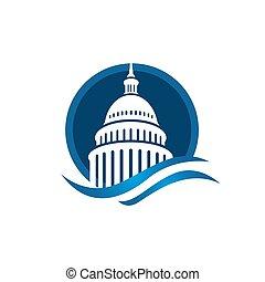 矢量, 美國人, 標識語, 創造性, 建築物, 簡單, 州議會大廈, 設計