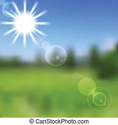 矢量, 自然, 坡度, 摘要, 陽光普照, 濾網, design.