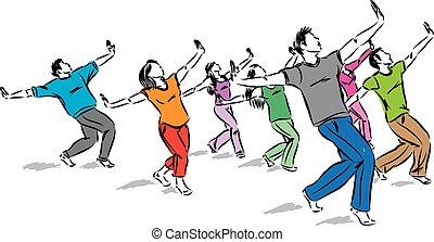 矢量, 舞蹈家, 團体一起, 插圖