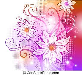 矢量, 花, 背景