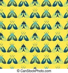 矢量, 蛾, wallpaper., 禮物, 重覆, 或者, 紡織品, 黃色, 行, 包裹, suitable, pattern.