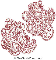 矢量, 設計, 花, doodles, 指甲花