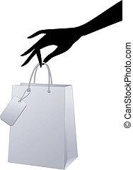 矢量, 購物袋, 手