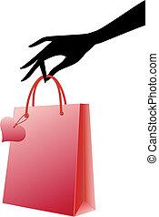 矢量, 購物袋, 紅色, 手