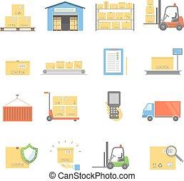 矢量, 運輸, 倉庫, 被隔离, 圖象, 交付, 套間, 集合, 插圖
