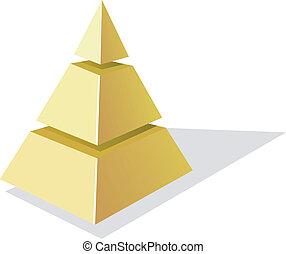 矢量, 金黃 背景, 金字塔, 白色, 插圖