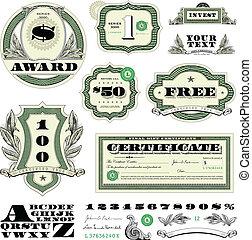 矢量, 錢, 框架, 集合, 裝飾品