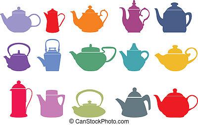 矢量, 集合, 十五, 茶壺, 鮮艷