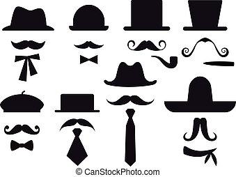 矢量, 集合, 帽子, 小胡子