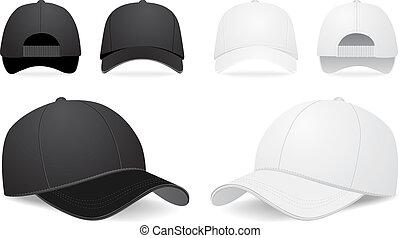 矢量, 集合, 帽子, 棒球