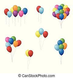 矢量, 集合, 气球, illustration., 鮮艷