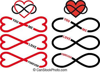 矢量, 集合, 無限, 紅色, 心