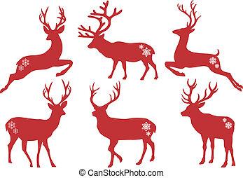 矢量, 集合, 鹿, 聖誕節, stags