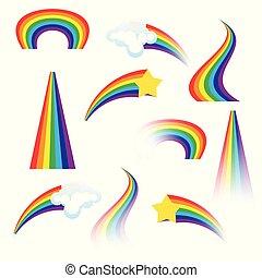 矢量, 集合, rainbows., 插圖, 鮮艷
