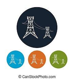 矢量, 電壓, 線, 圖象, 高, 插圖, 力量