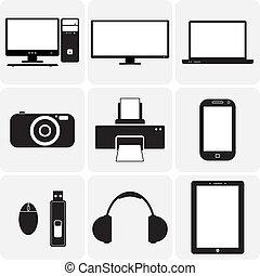 矢量, 電視, gadgets., &, 這些, 圖表, icons(symbols), 筆記本, 膝上型, 小器具, simplistic, 其他, 黑色, 數字, 說明, 照像機, 白色, 電子
