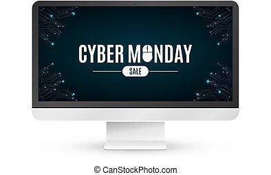 矢量, 題字, mouse., 監控, 星期一, 現代, 背景, 被隔离, cyber, sale., 背景。, lcd, 計算机電路, board., 白色