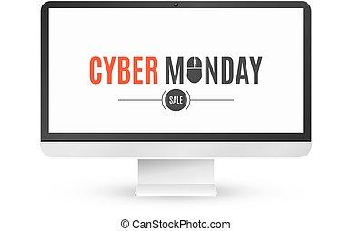 矢量, 題字, mouse., 監控, 星期一, 現代, 被隔离, cyber, sale., 背景。, lcd, 電腦, 背景, 白色