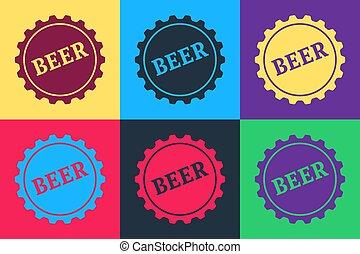 矢量, 顏色, 流行音樂, 被隔离, 背景。, 詞, 瓶子, 藝術, 啤酒, 帽子, 圖象