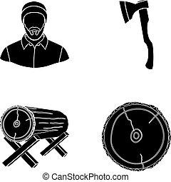 矢量, 風格, 傷口, 日誌, 斧, 圖象, logs., 木匠, web., 彙整, 集合, 黑色, 插圖, 支持, 木材, 符號, 鋸木厂, 股票