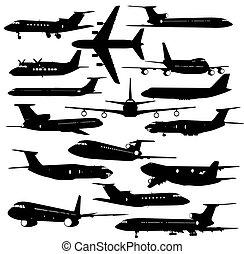 矢量, 飛机, 彙整, 不同, silhouettes., 插圖