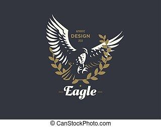 矢量, 飛行, emblem., eagle.
