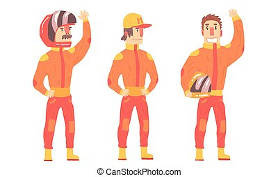 矢量, 騎手, 人, 橙, suits., illustration.