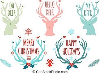 矢量, 鹿角, 集合, 鹿, 聖誕節