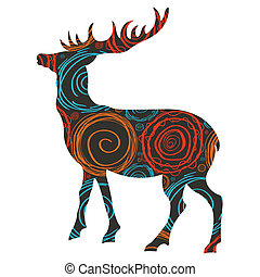 矢量, 鹿, 聖誕節, 背景