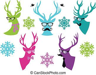 矢量, 鹿, 集合, 聖誕節, 頭