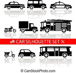 矢量, 黑色半面畫像, 反映, 集合, 汽車, 圖象