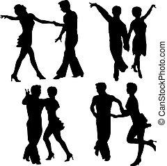 矢量, 黑色半面畫像, 婦女, 人, 跳舞