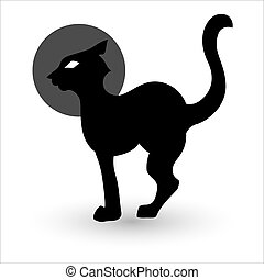 矢量, 黑色半面畫像, 貓