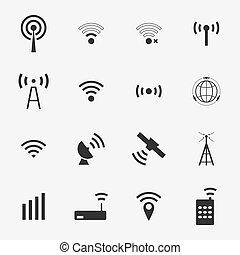 矢量, 黑色, 集合, 不同, 無線, 圖象, wifi