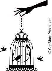 矢量, birdcage, 手