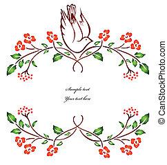 矢量, branch., 花, 鳥, 坐