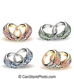 矢量, diamonds., 集合, 戒指, 婚禮