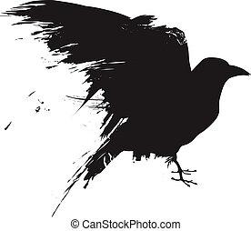 矢量, grunge, 掠奪, 黑色半面畫像
