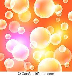 矢量, illustration., 陽光普照, 背景, 背景, 橙, 氣泡, 肥皂