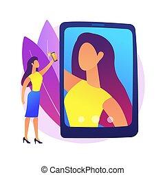 矢量, illustration., selfie, 概念, 摘要