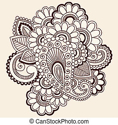 矢量, mehndi, doodles, 紋身, 指甲花